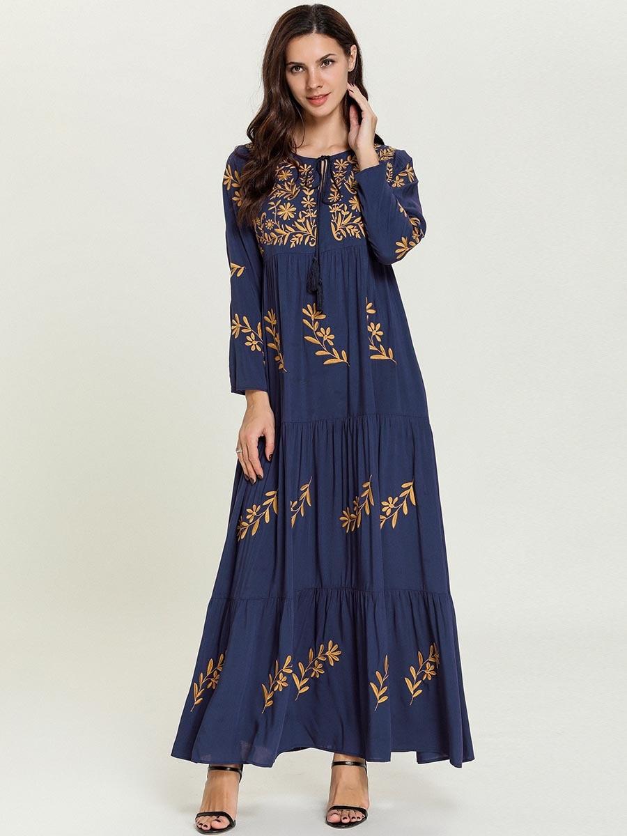 Women Maxi Dresses Abayas for Women Muslim Dress Embroidery Long Dress Female Arabian Islamic Muslim Robes Kaftan Dubai Clothing
