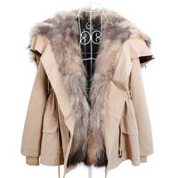 maomaokong winter lined coats warm natural raccoon removal lining women fur coat womens leather jacket winter clothes parka