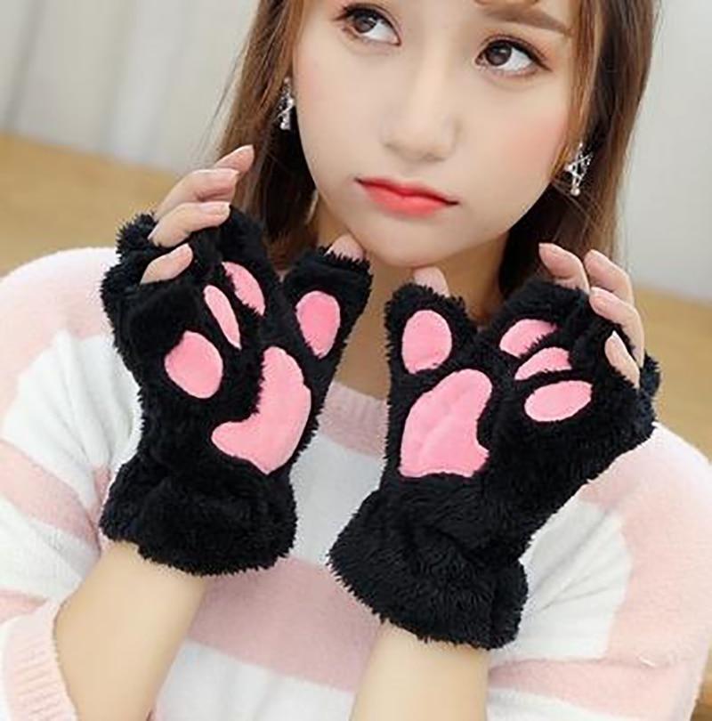 Women Bear Plush Cat Paw Claw Gloves Winter Faux Fur Cute Kitten Fingerless Mittens Gloves Christmas Halloween for Womens Girls