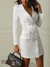 Automne hiver costume Blazer femmes 2019 nouveau décontracté Double boutonnage poche femmes longues vestes élégant à manches longues Blazer extérieur