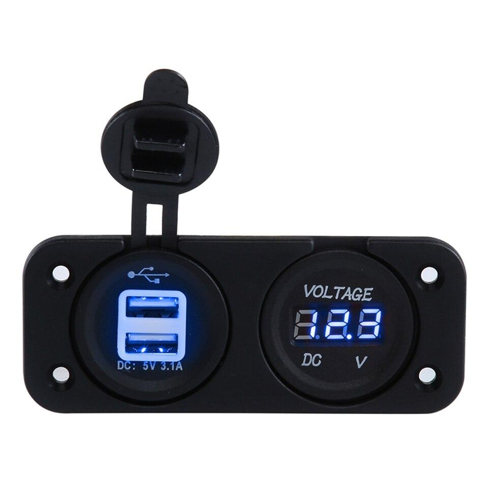 2-х кнопочный автомобильный вольтметр с двойным USB зарядным устройством для морских лодок и автомобилей