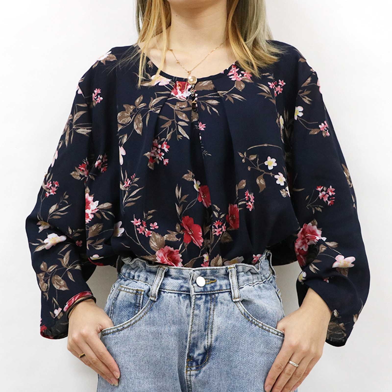 Womens Fashion Plus Size Printing Long Sleeves Korean Style Blusas News Design Casual Blouse Loose Oversized Blouses Female Tops