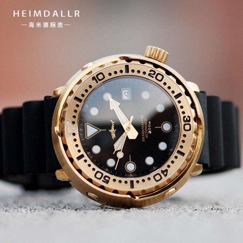 Heimdallr ساعة الغوص البرونزية للرجال الياقوت الكريستال علامات مضيئة 20ATM مقاومة للماء اليابان NH35A الحركة التلقائية الساعات