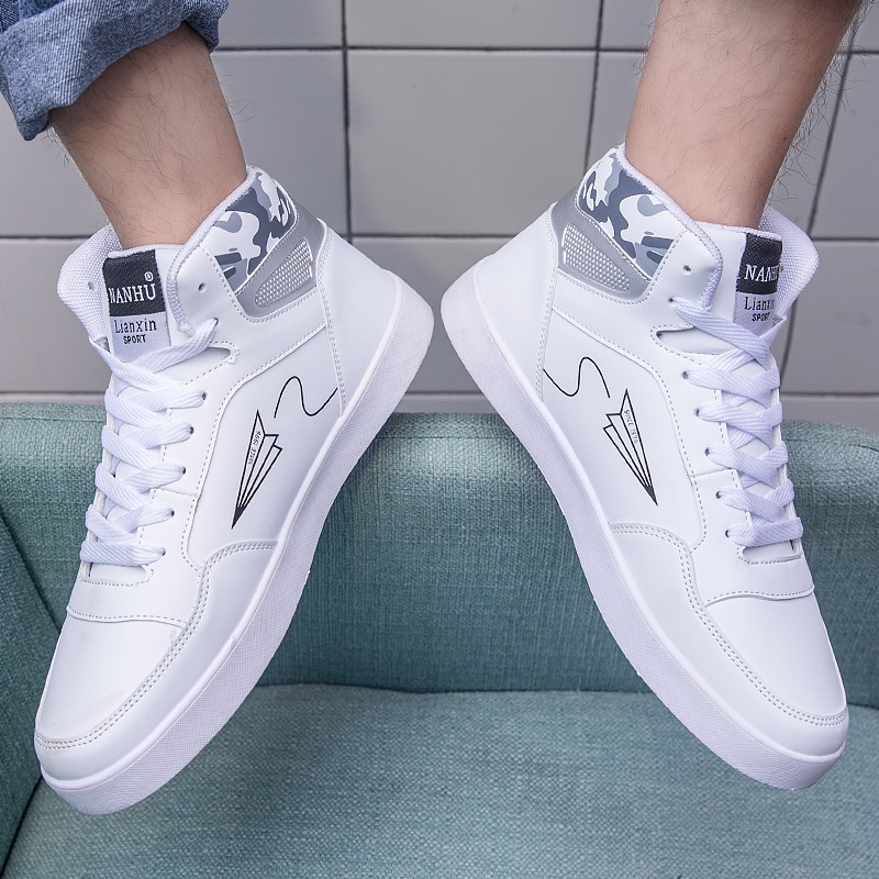 High Quality Brand Casual Men Sneakers Hot Sale Black High Top Casual Sneakers Men Breathable White