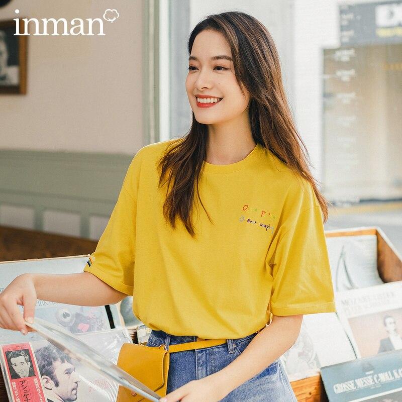 INMAN 2020 verano nueva llegada Arco Iris Color bordado pupila Casual suelta hombro caído BF estilo camiseta de manga corta