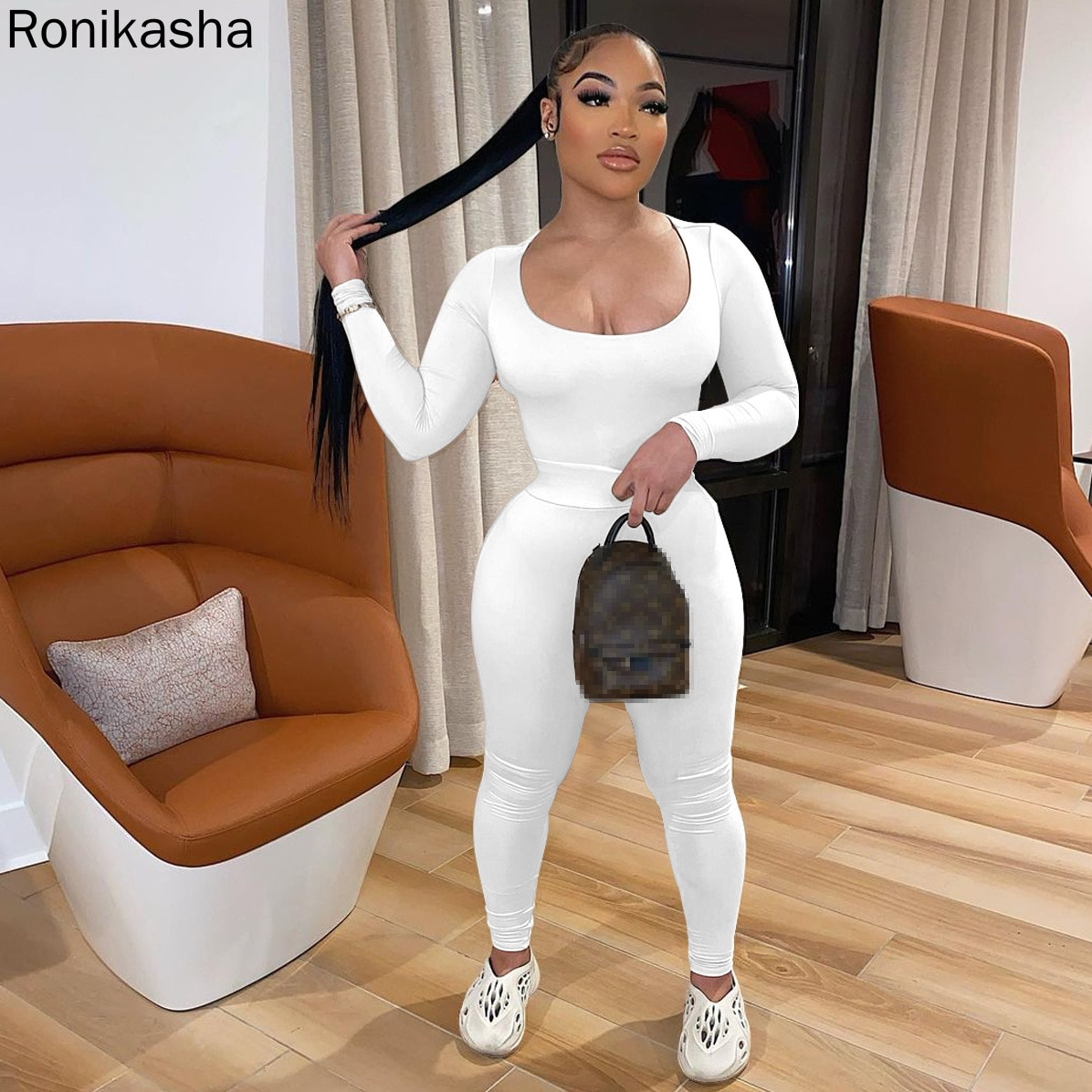 Ronikasha Women Two Piece Sets Fall O Neck Solid Long Sleeve Tops and Skinny Pant Tracksuit Outfit Fitness Yoga Matching Suit