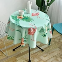 rural style round tablecloth simple waterproof restaurant coffee hotel geometric plaid printed js76c