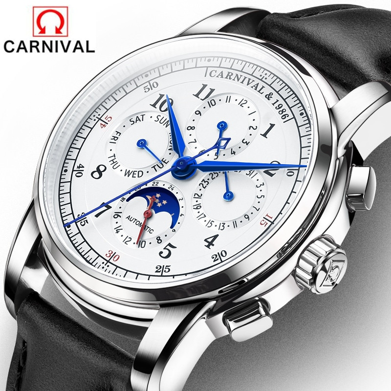 Carnival Brand Military Watch Fashion Luxury Waterproof Moon Phase Automatic Mechanical Watches For Men Clock Relogio Masculino