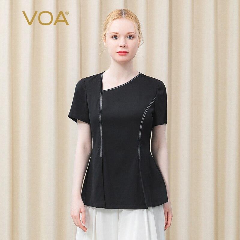 VOA Silk Skew Collar Short Sleeve Line Decorative Folding Classic Black Slim Thin Simple T-shirt BE576 Harajuku Woman Tshirts