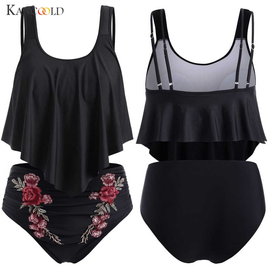 Kancoold Mesh Bloemen Bikini Badpak Padded Swimswear Sexy Hoge Taille Biquini 2020 Swimdress Vrouwelijke Tankini Cover Up Plus L-5XL