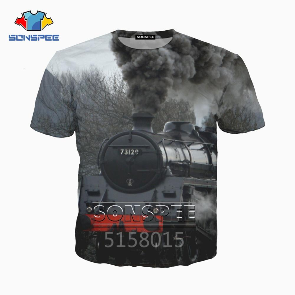 SONSPEE tren de vapor transporte Harajuku 3D impreso hombre mujer ropa camiseta de hip-hop unisex manga corta streetwear XK108e