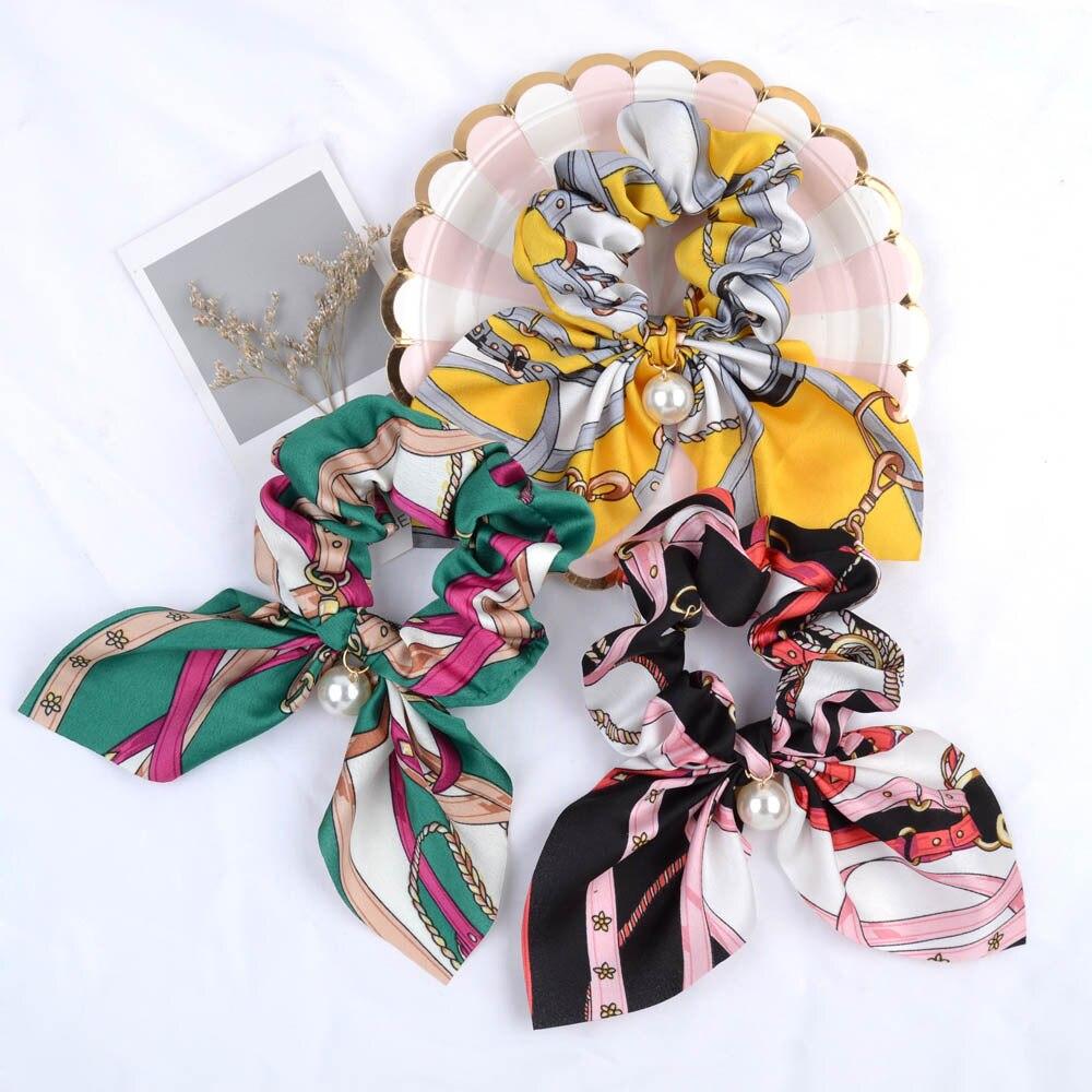 Ruoshui Woman Chiffon Printed Hair Ties Pearl Scrunchies Fashion Hair Accessories Girls Rubber Band Hair Ornaments Rope Headwear