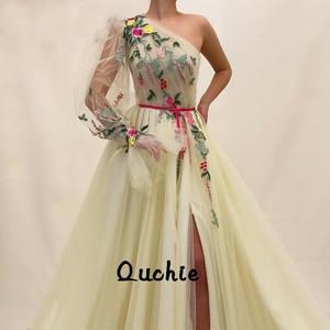 One Sleeve Slit Lantern Sleeves Evening Dresses Custom Special Occasion robe soiree Islamic Dubai Kaftan Saudi Arabic Prom Gown