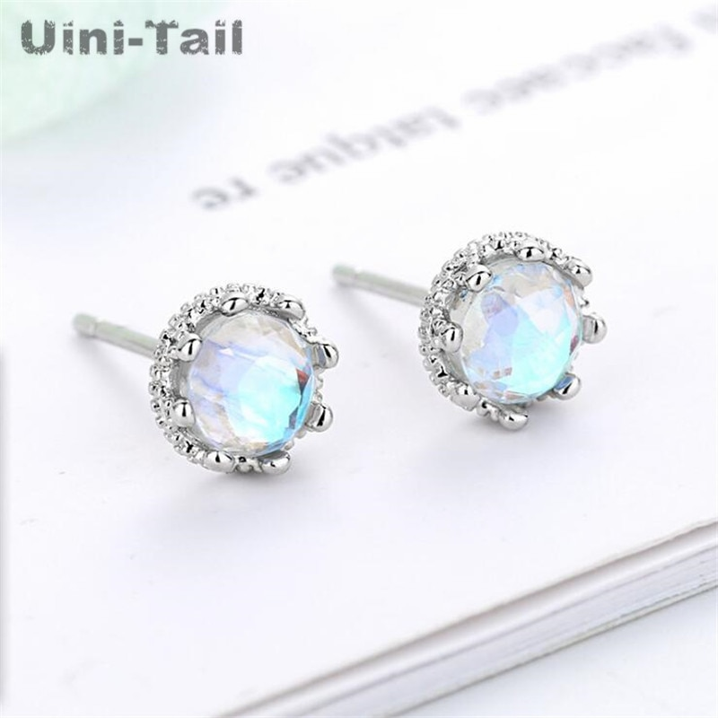 Uini-Tail hot sale new 925 sterling silver classic lace crown moonstone earrings romantic temperament niche high quality ED811