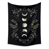 moon phase starry sky tapestry wall hanging psychedelic flower tapestries black boho carpet wall cloth bed cover tablecloth