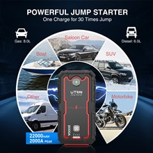 UTRAI Jstar one Caricatore portatile di emergenza per auto Caricatore di emergenza Batteria agli ioni di litio Banca di potenza 22000 mAh Dispositivo di avviamento impermeabile per auto booster