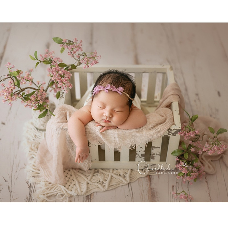 Baby Photography Accessories Retro Old Blackboard Basket Studio Photoshoot Newborn Props Wood Bed For Boy Photo Background