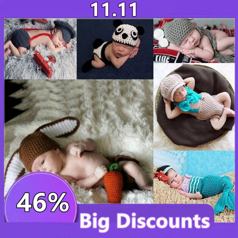 Детский вязаный крючком одежда ручной работы новорожденный фото реквизит для мальчиков и девочек аксессуары для фотосъемки костюмов