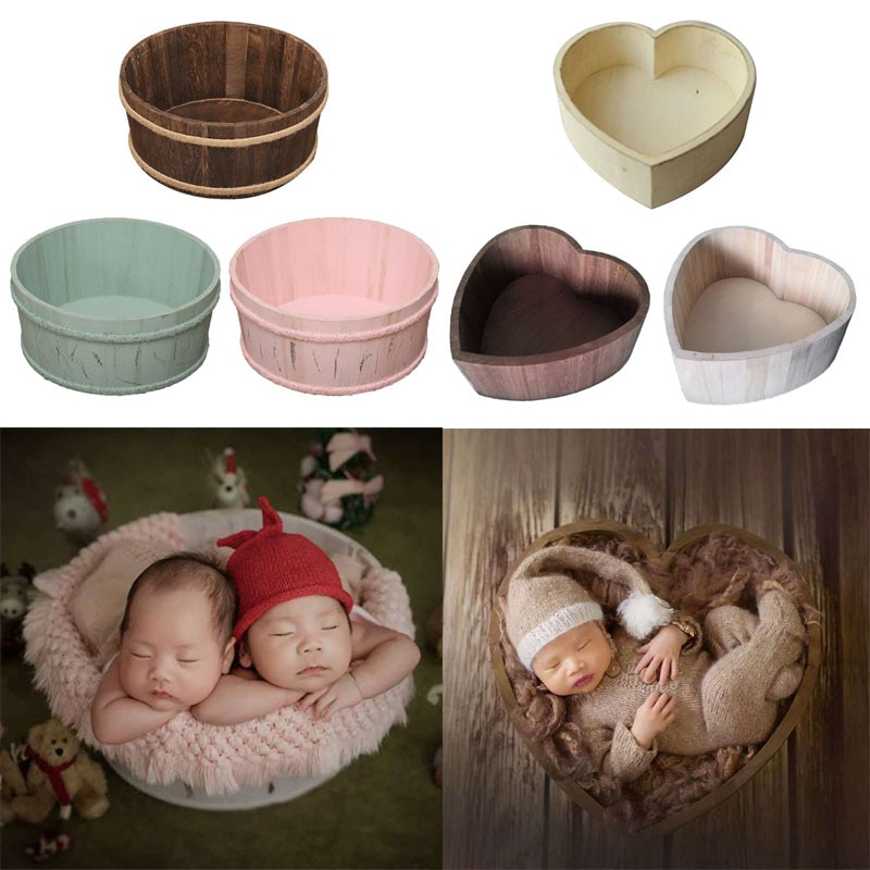 Newborn Photography Props Wooden Basin Full Moon Heart Infants Baby Pose Auxiliary Photo Shooting Props Basket Accessories