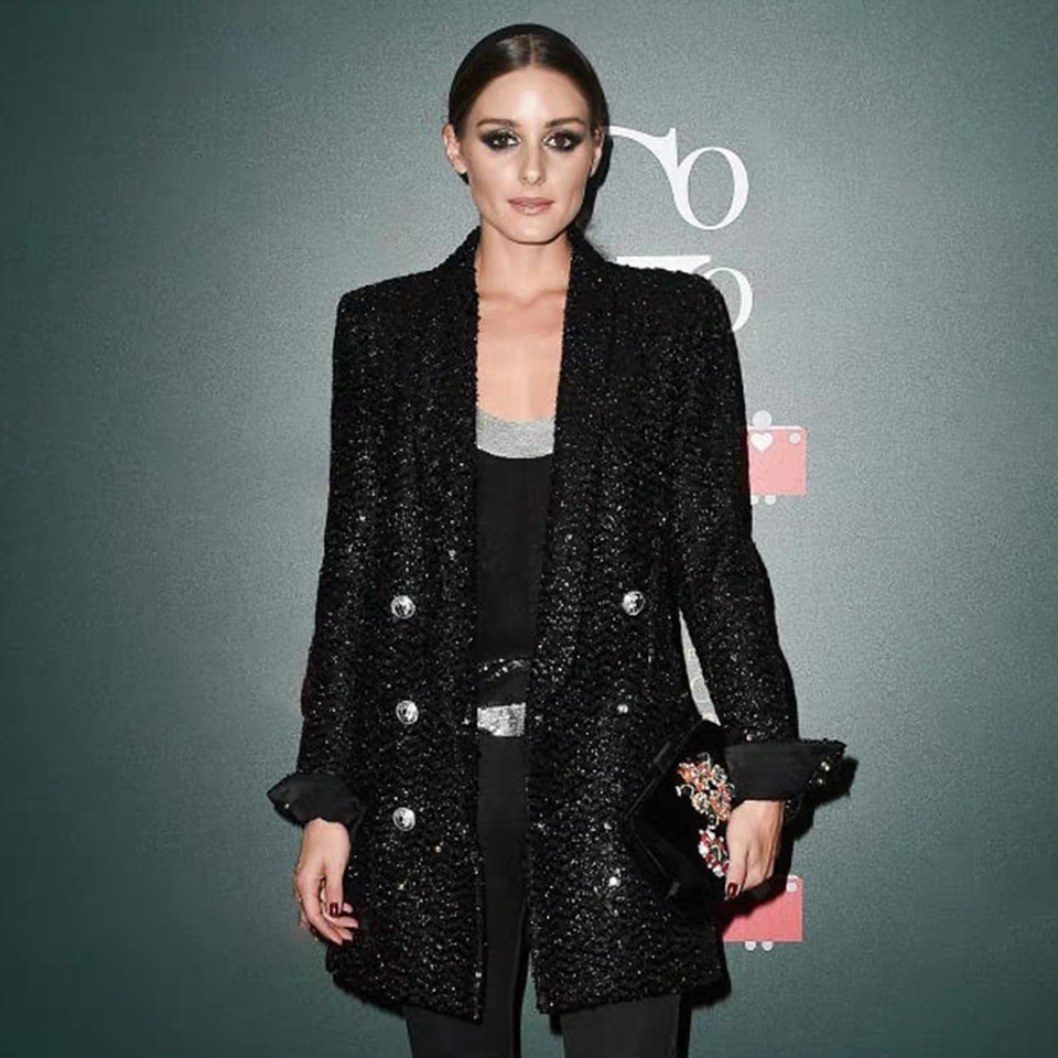 2021 High Quality Fashion  Designer Blazer Women Double Lion Buttons Shawl Collar Glitter Sequined Long Runway Black Blazers