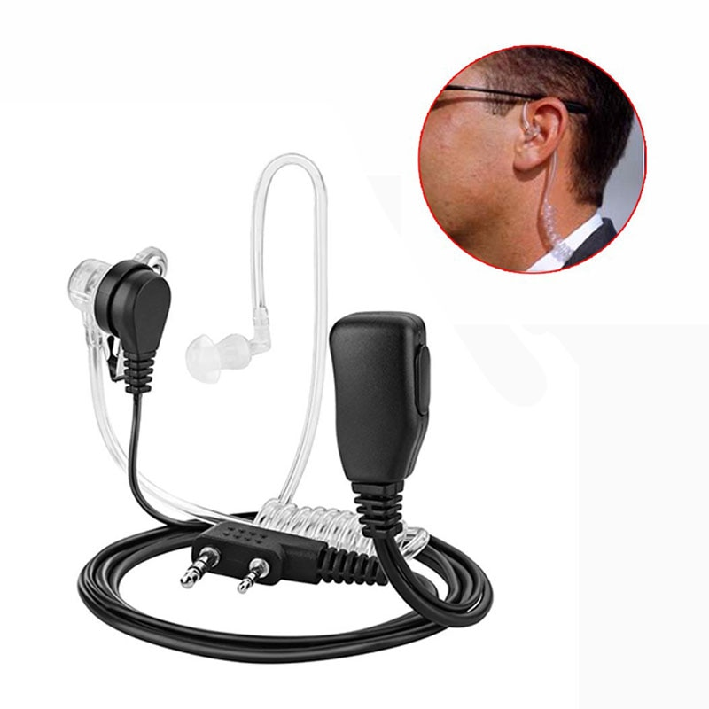 2 Pin PTT MIC Headset Covert Acoustic Tube In-ear Earpiece For Kenwood TYT Baofeng UV-5R BF-888S CB