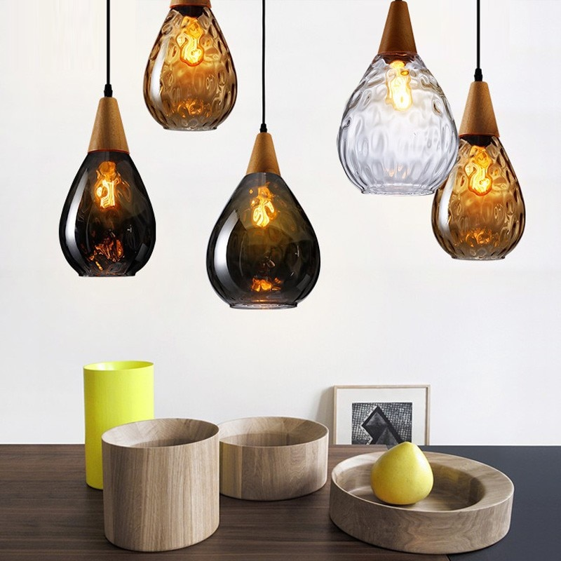 Black glass hanging lamp pendant light fixtures Kitchen Industrial E27 indoor Hanging Lights showcase color glass shade lantern