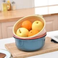 hangable multi household double layer plastic fruit bowl wash fruit drain basket