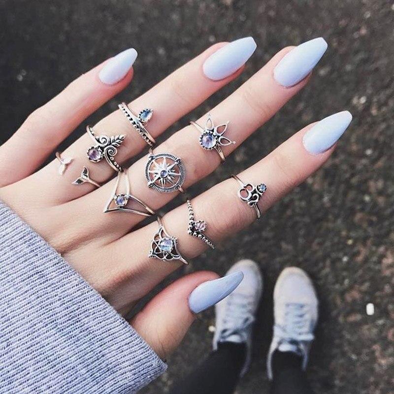 9 unids/set gran oferta anillo de oro para las mujeres 2019 Brújula de cola de sirena joya elegante nudillo Midi conjunto de anillos de dedo de la joyería