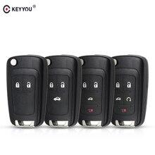 KEYYOU-porte-clés pliable à 2/3/4/5 boutons   Coque à télécommande rabattable pour Chevrolet Cruze Lova Aveo, avec lame HU100