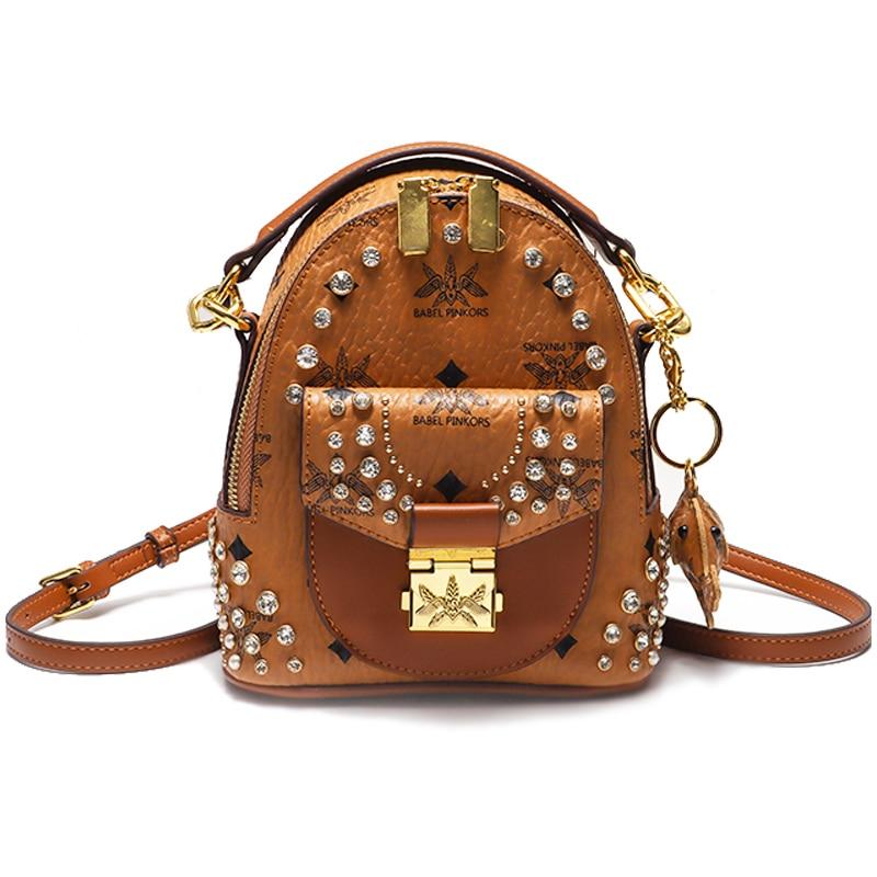 Famous Brands 2021 High Quality Shoulder Ladies Bag Lovely Backpack For Girls Sling Handbag With Diamond And Rivet 1386#