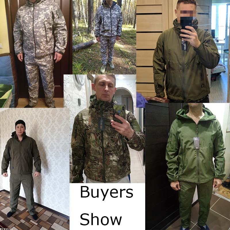 Купить с кэшбэком Shark Skin Soft Shell Jacket Pants Shirts Military Uniform Camouflage Tactical Suit Army Clothes Hiking Jackets Waterproof