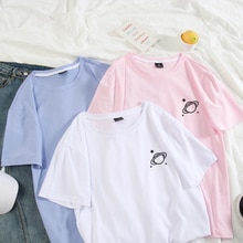T hemd Paar Sommer Baumwolle Planeten Gedruckt Harajuku Tops Pastell Farben Plus Größe T-shirt frauen Kleidung Hip Hop Tops