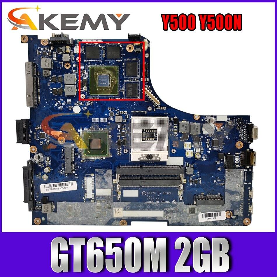 Akemy لينوفو Y500 Y500N اللوحة المحمول QIQY6 LA-8692P PGA989 HM77 DDR3 GPU GT650M 2GB 100% اختبار العمل