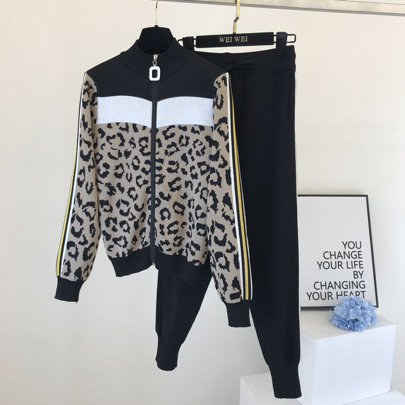 Fashion Long Sleeve Knitted Two-Piece Suits Women Leopard Zipper Cardigans And Ankle Banded Sweatpan