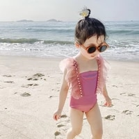childrens swimsuit cartoon cute pink mesh pearl 2021 new one piece swimsuit suit outdoor sports water equipment