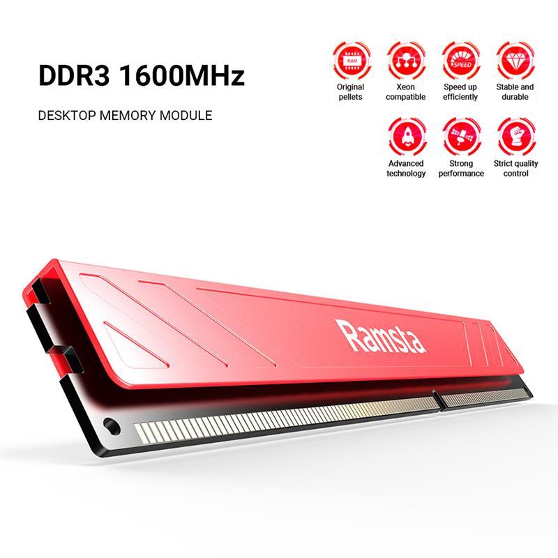 Ramsta الذاكرة بار 4 جيجابايت/8 جيجابايت DDR3 1600 ميجا هرتز عالية الأداء IC رقاقة 240Pin ذاكرة عشوائية RAM ل حاسوب شخصي مكتبي الكمبيوتر مكتب المنزل