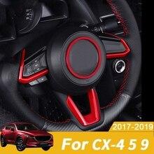 Rouge ABS Intérieur Volant Boutons Couverture de Cadre pour Mazda 3 Mazda 6 CX-4 CX-5 CX-9 2016-2019(4 Pièces)