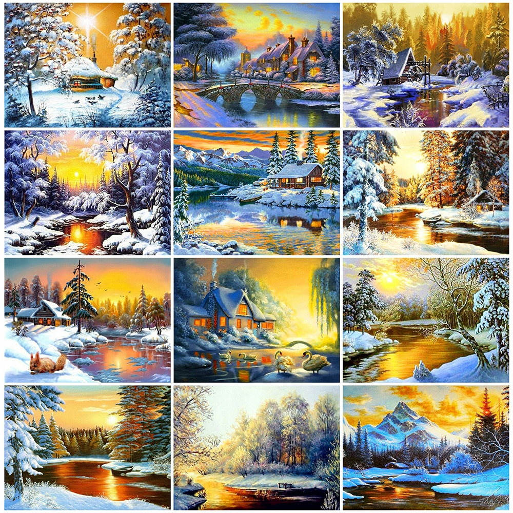 HUACAN, pintura de diamantes 5D, paisaje de invierno, decoración del hogar, bordado de diamantes, paisaje Natural, arte de diamantes