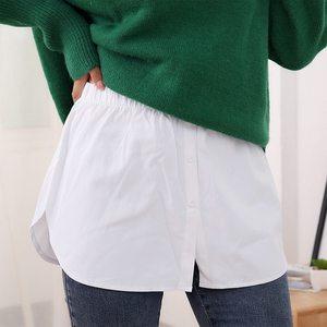 Women Decorative Skirt Solid Color A-Line False Fake Hem Button Solid Color Elastic Waist Layered Detachable Apron