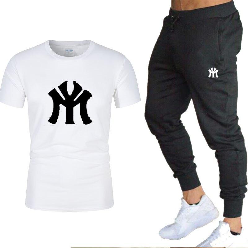 Conjuntos de Camiseta de algodón de verano para hombre + pantalones negros de dos piezas, ropa estampada de Color sólido, conjuntos de actividades al aire libre para el tiempo libre para el hogar