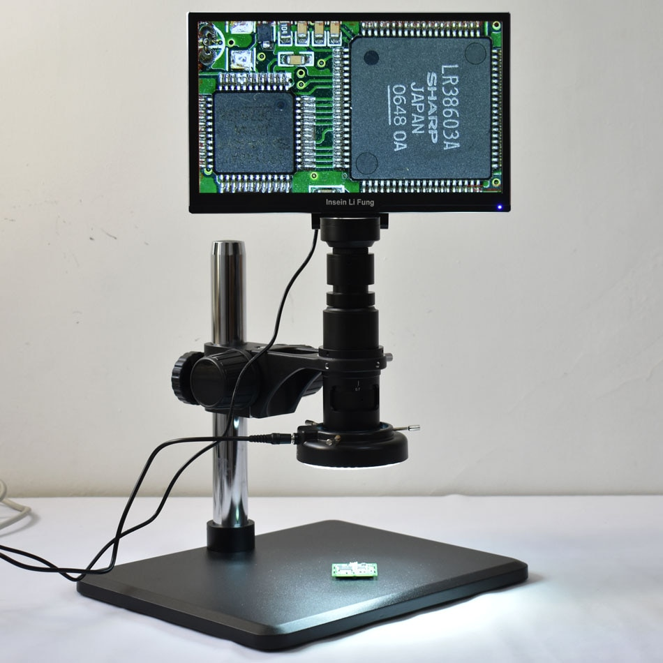 مجهر قياس مع شاشة مدمجة 1080 بوصة ، شاشة Full HD 11.6 P ، عدسة مكبرة 10X-300X HDMI ، USB ، تخزين PCB ، إصلاح اللحام
