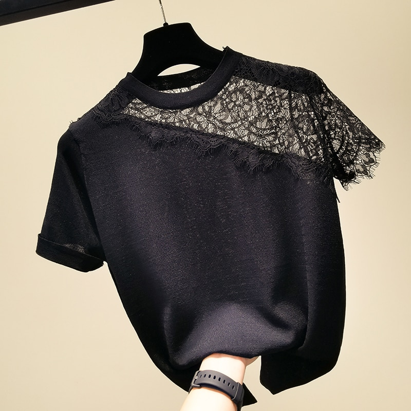 Fashion O collar Lace stitching sweater bottoming shirt women's Loose stripe thin pullover 2021 summer Short sleeve