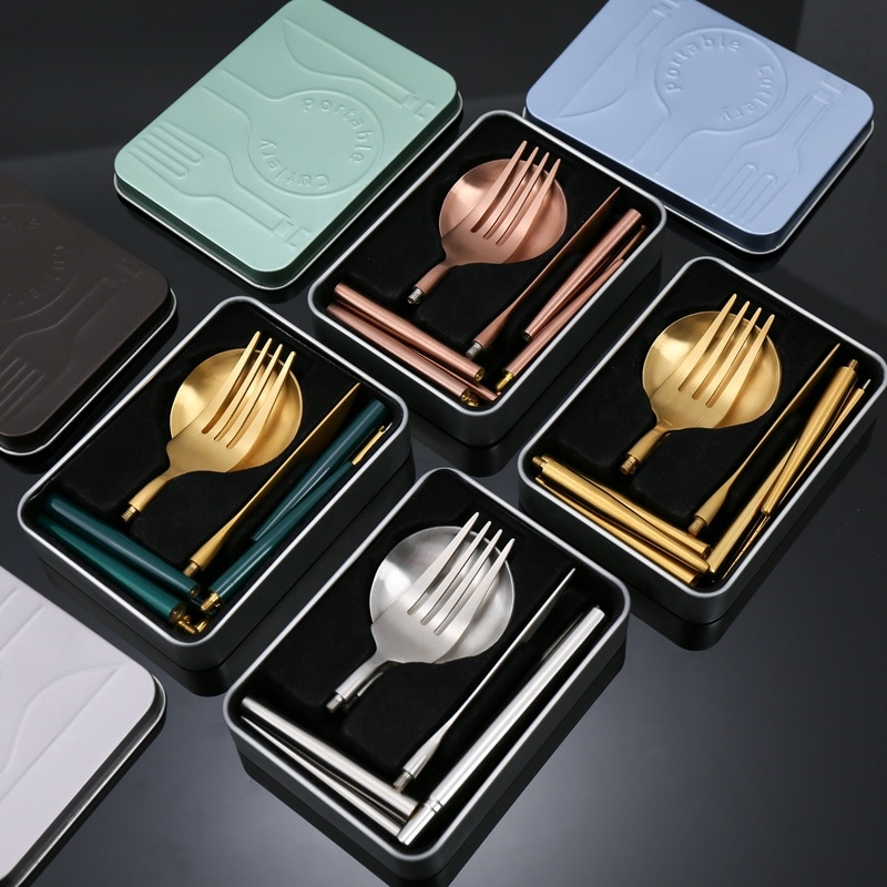AliExpress - Stainless Steel Cutlery Camping Cutlery Matte Rose Gold Silverware Gift Set Portable Collapsible Tableware Set with Metal Case
