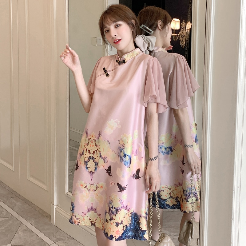 chinese Style Printed Vintage Buckle Qipao Dress Short Sleeve Breast-feeding Invisible Zipper Design Pregnant Women's DressZL789 enlarge