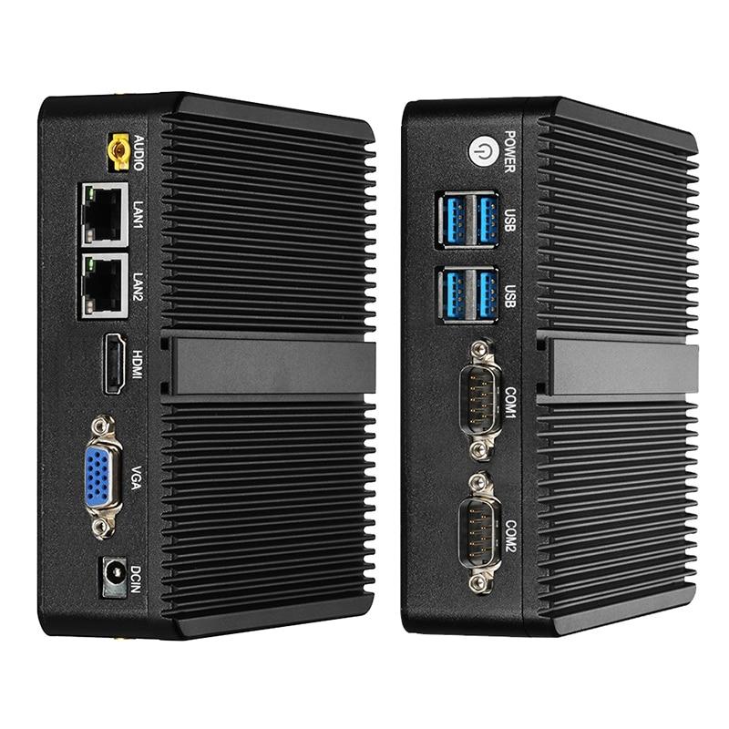 بدون مروحة جهاز كمبيوتر صغير إنتل سيليرون J4125 4GB RAM 128GB SSD ويندوز 10 لينكس 2x جيجابت LAN RS232 4 * USB واي فاي جزءا لا يتجزأ من IPC الصناعية