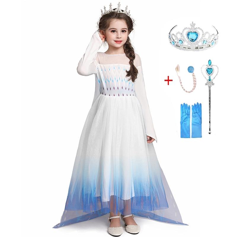 Anna elsa cosplay traje meninas vestido de natal estilo 3-12 anos de idade manga longa menina vestido de princesa festa cosplay neve rainha 2