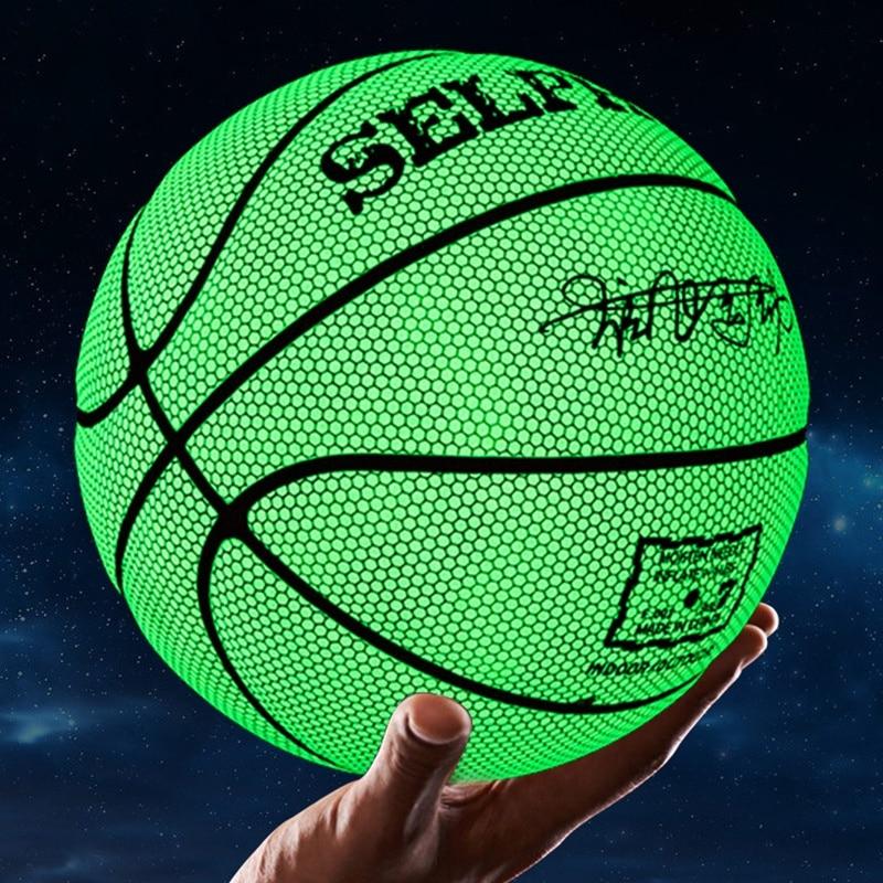 Brilho na Bola de Basquete Presente de Aniversário Bola de Basquete Escura Tamanho Plutônio Luminoso Reflexivo Basquete Atrair Brilhante 7