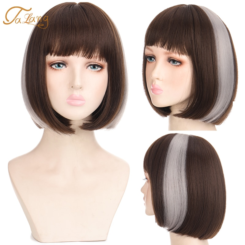 Fashion Short Black Ear Dyeing Synthetic Wig With Bang For Women Non-Reflective Shopping Party Daily Wear Wig