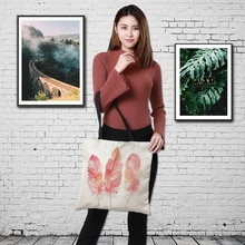 CROWDALE Double-sided bird-and-flower painting Women Large Linen Shopping Bag Handbag Bag Women Shoulder bag Pouch 43cm*43cm