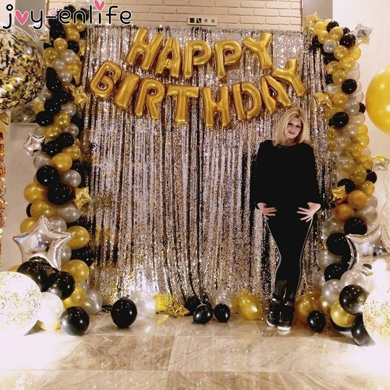 Joy-Enlife Rosa oro telón de fondo cortina metálica de flecos de papel oropel para boda cumpleaños fiesta decoración Photo Props suministros